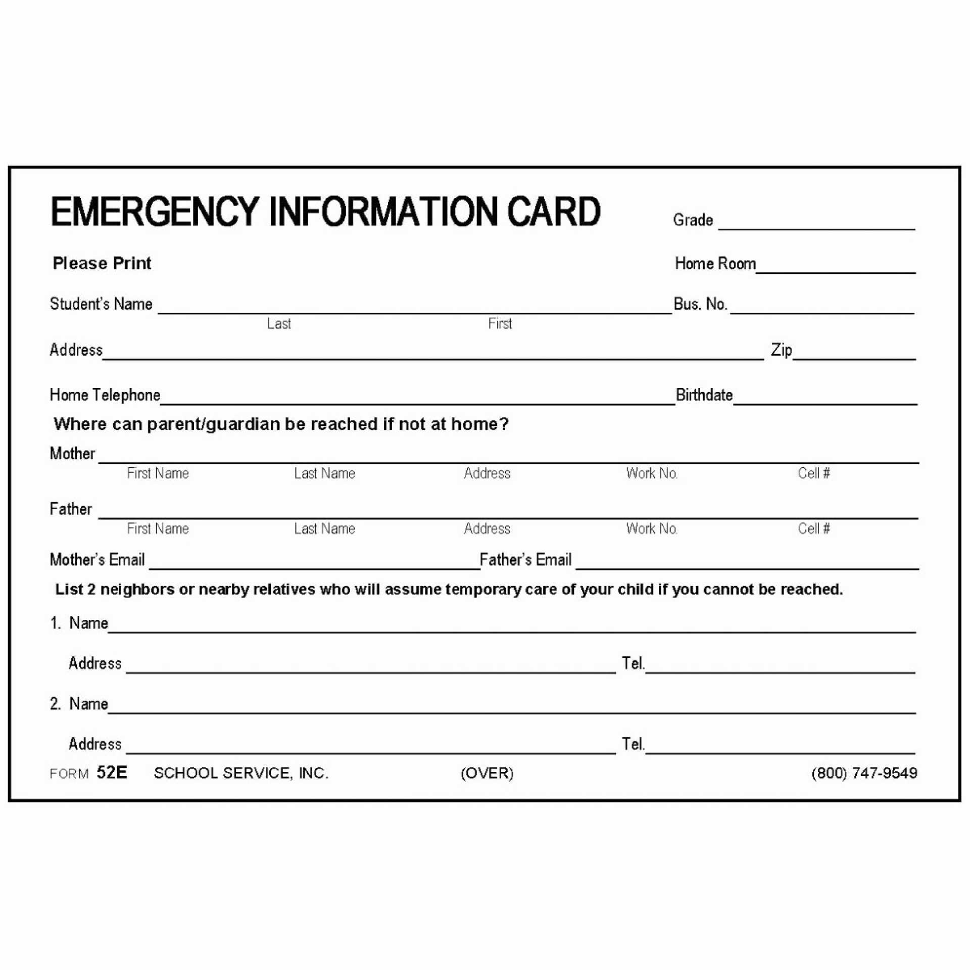 Printable Emergency Contact Cards | Template Business Psd Regarding Emergency Contact Card Template
