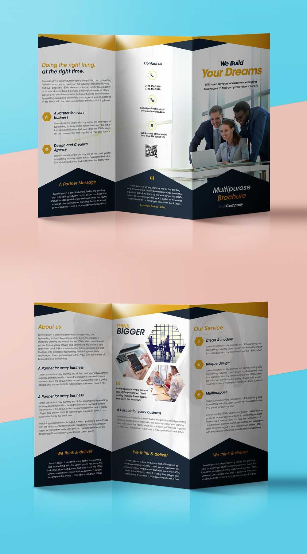 Professional Corporate Tri Fold Brochure Free Psd Template For 2 Fold Brochure Template Psd
