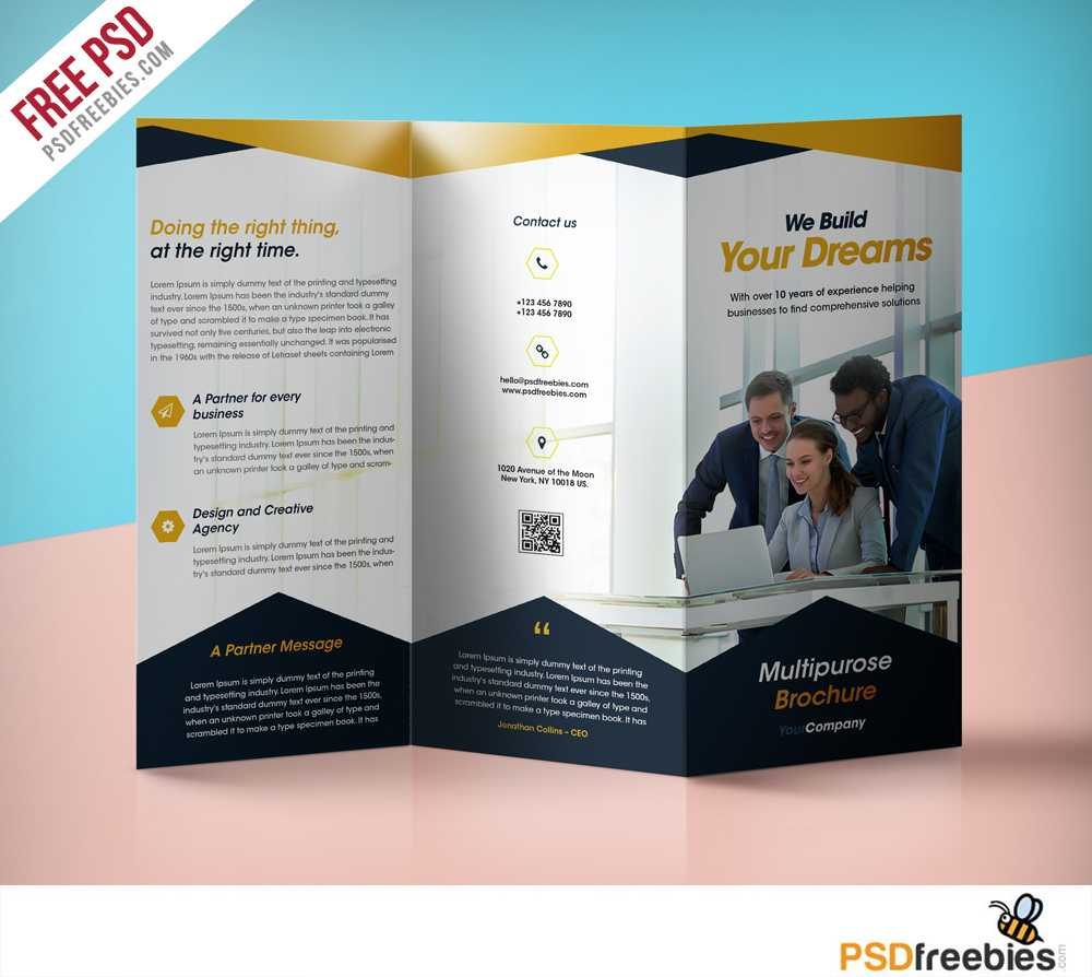 Professional Corporate Tri Fold Brochure Free Psd Template Inside 3 Fold Brochure Template Free