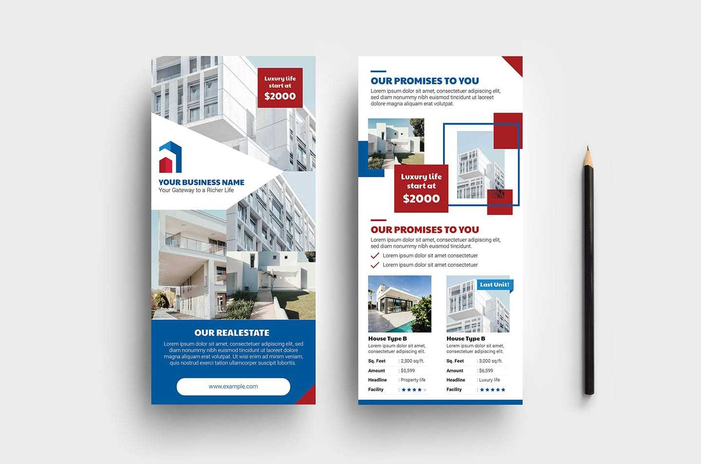 Real Estate Dl Card Template Vol.3 – Psd, Ai & Vector With Regard To Dl Card Template