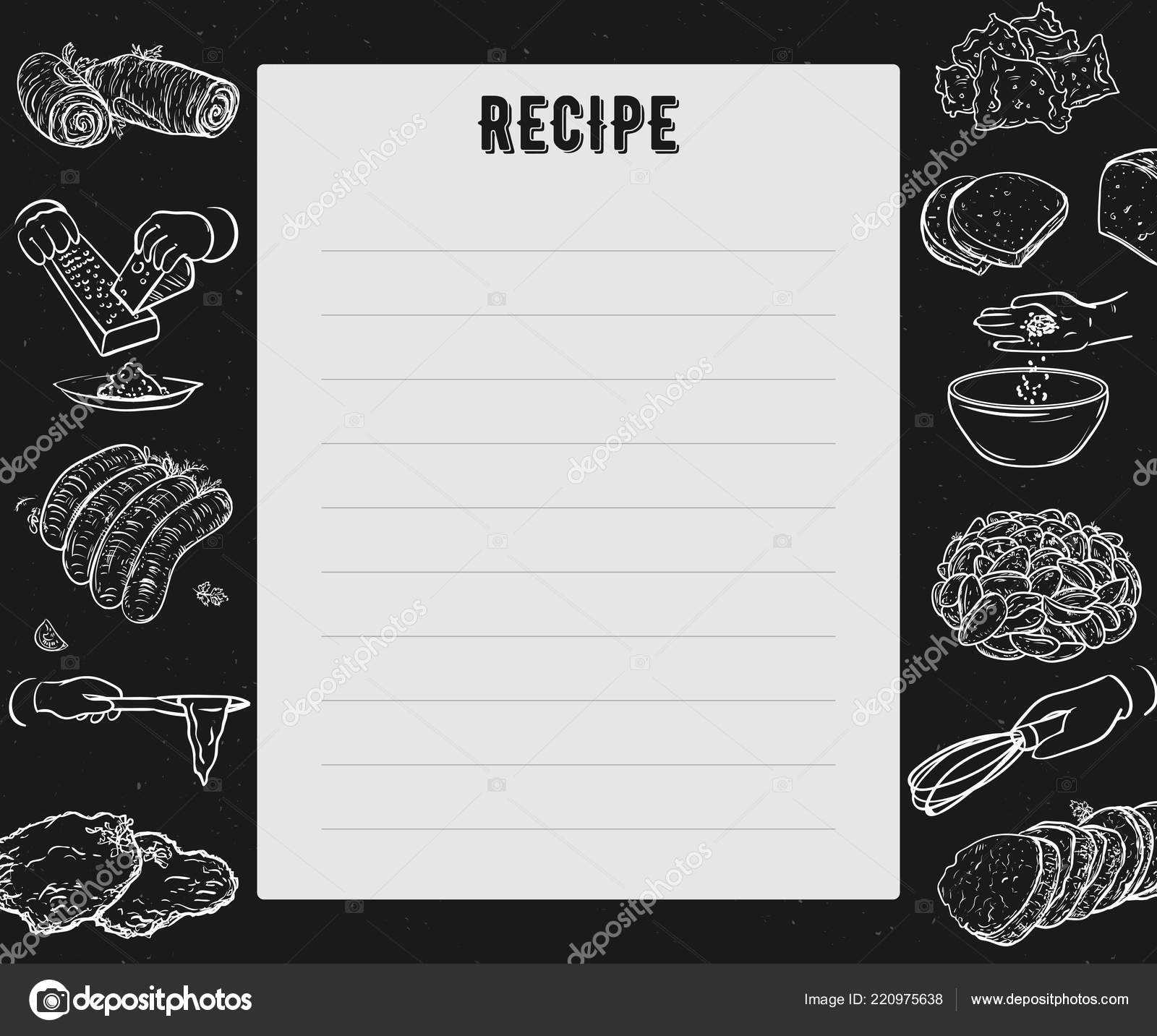 Recipe Card Cookbook Page Design Template Hands Preparing Intended For Recipe Card Design Template
