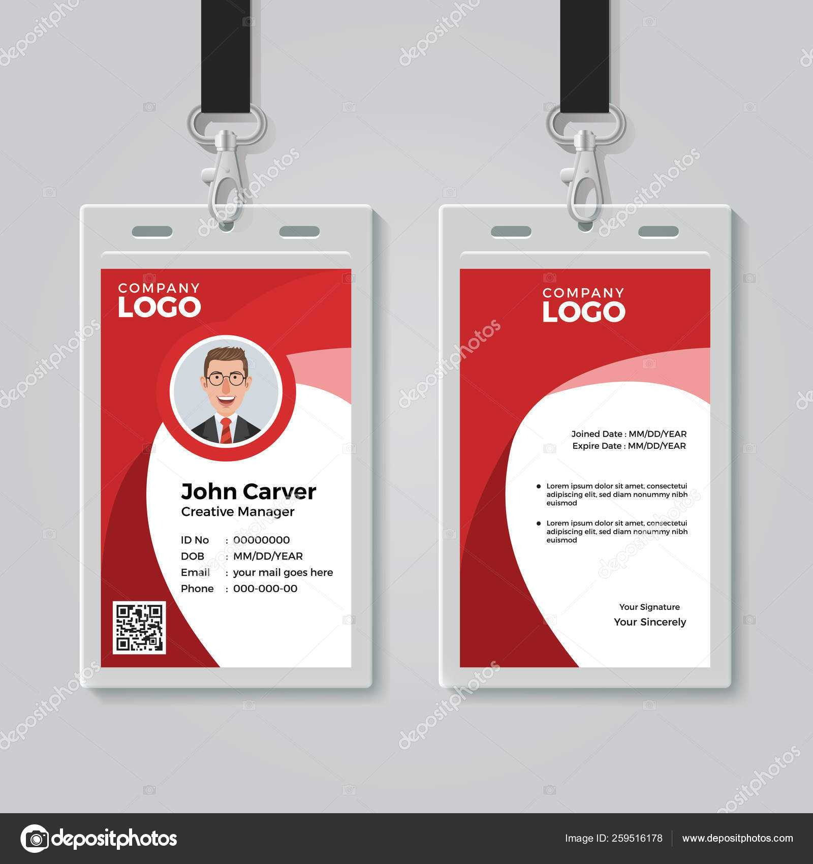 Red Corporate Id Card Template — Stock Vector © Bonezboyz Regarding Work Id Card Template