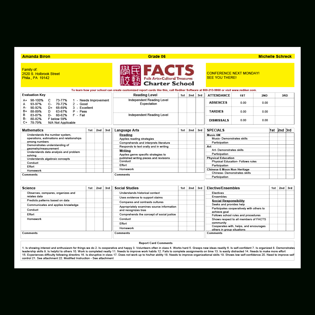 Report Card Software – Grade Management | Rediker Software Pertaining To Middle School Report Card Template