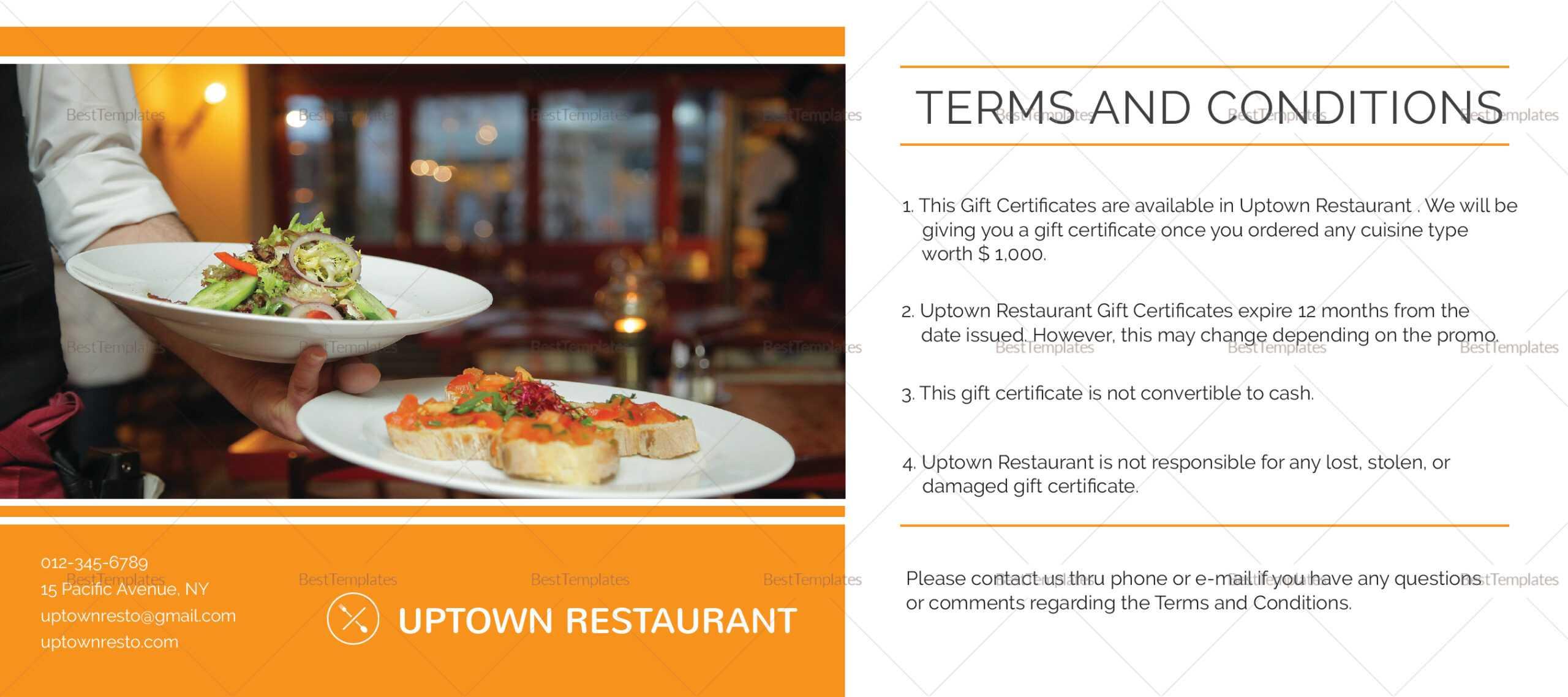 Restaurant Gift Certificate Template Inside Restaurant Gift Certificate Template
