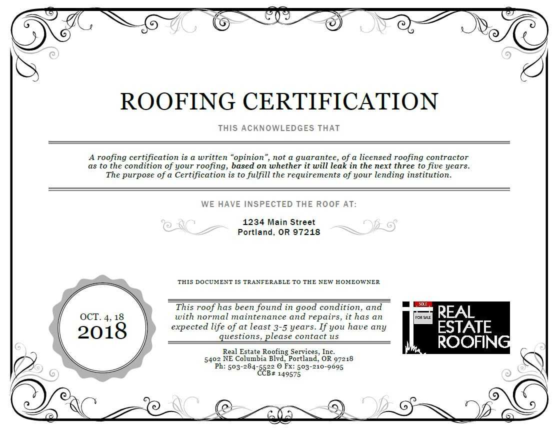 Roof Certification: Sample   Real Estate Roofing Regarding Roof Certification Template