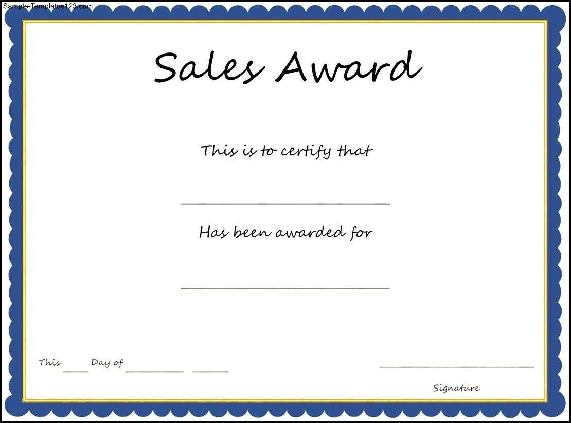 Sales Award Certificate Template - Sample Templates - Sample Pertaining To Sales Certificate Template