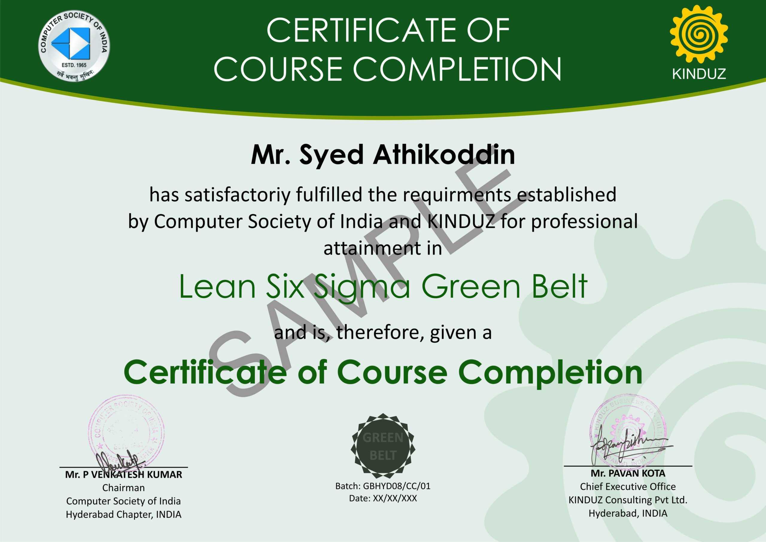 Sample Certificates - Lean Six Sigma India For Green Belt Certificate Template