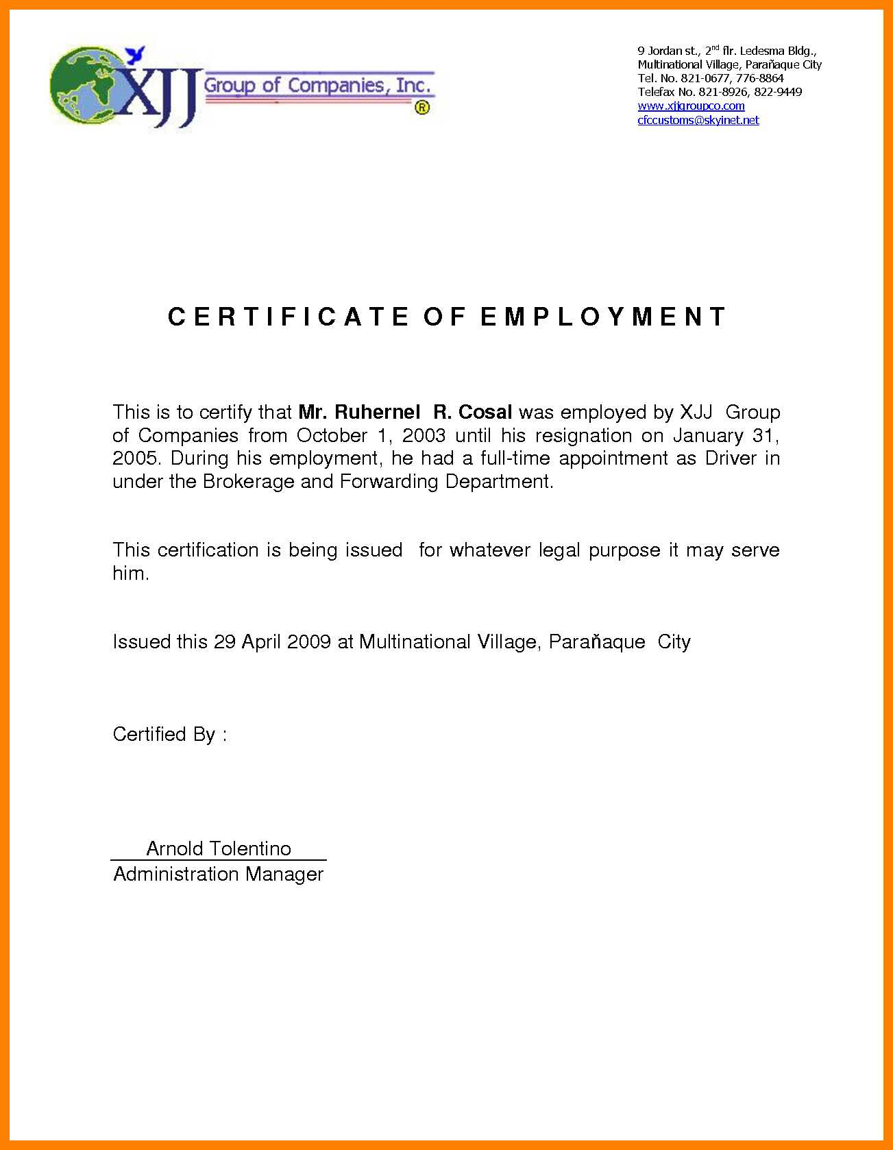 Sample For Certificate Of Employment - Tunu.redmini.co For Sample Certificate Employment Template