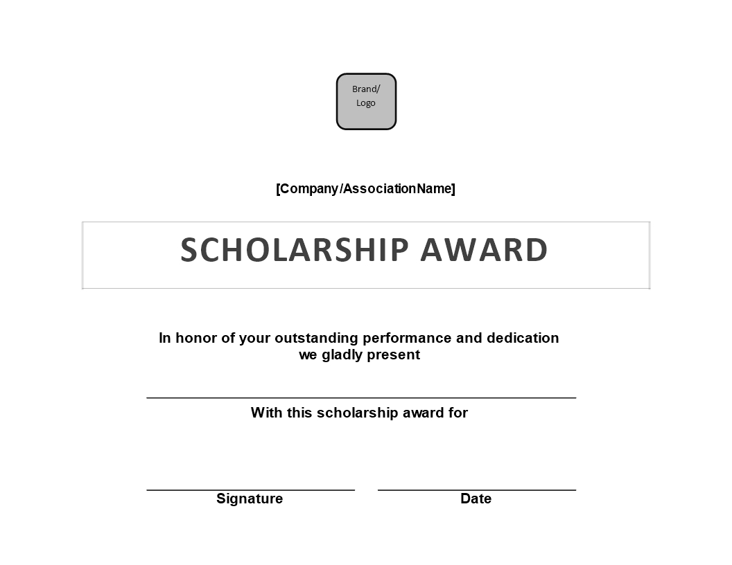 Scholarship Award Certificate | Templates At Inside Certificate Of Appearance Template