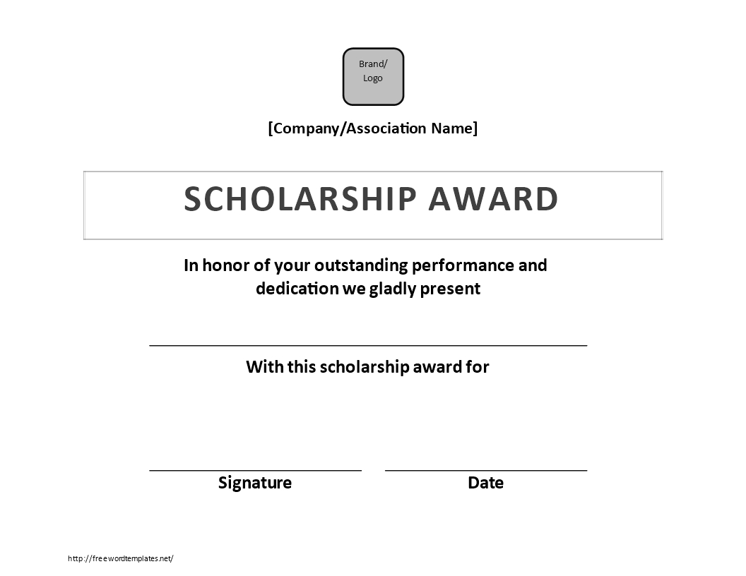 Scholarship Certificate Award | Templates At For Scholarship Certificate Template