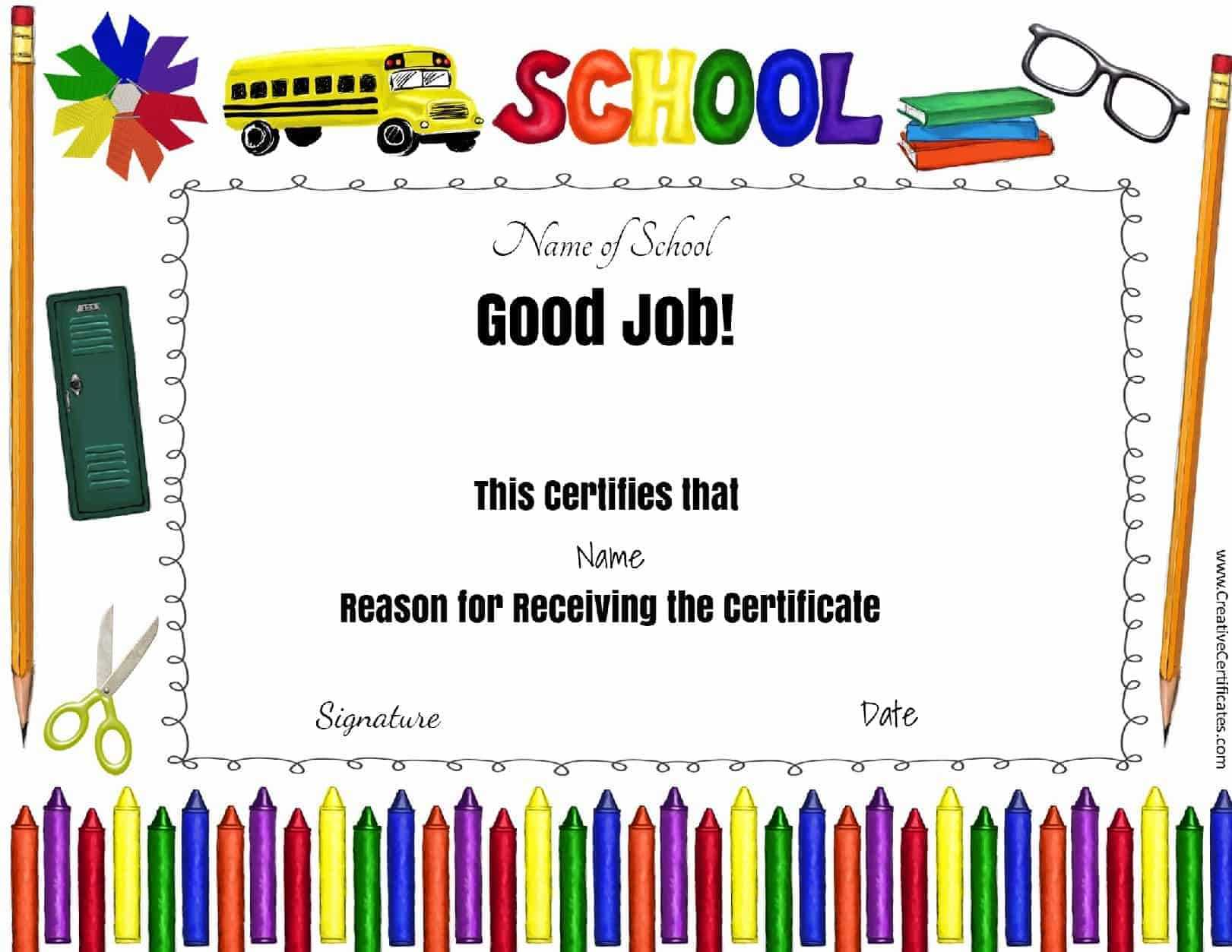 School Certificates Pertaining To Perfect Attendance Certificate Free Template