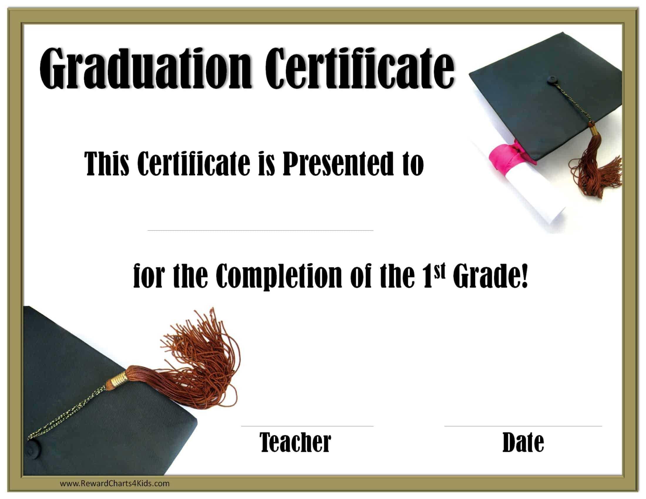 School Graduation Certificates | Customize Online With Or Regarding 5Th Grade Graduation Certificate Template