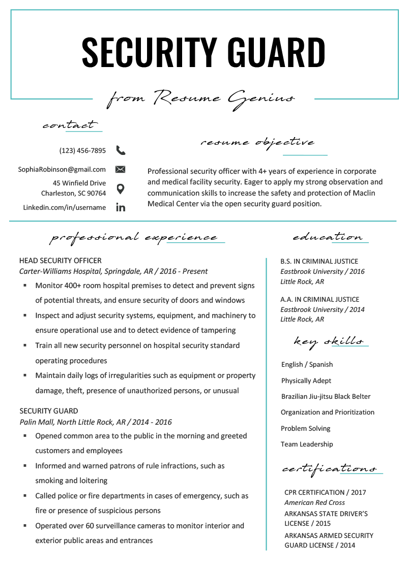 Security Guard Resume Sample & Writing Tips | Resume Genius With Certificate Of License Template