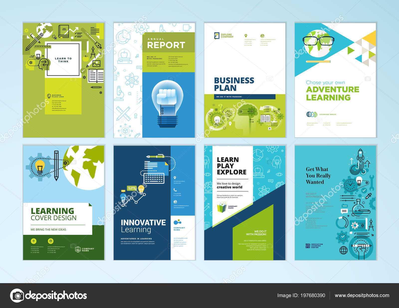 Set Brochure Design Templates Subject Education School Pertaining To School Brochure Design Templates