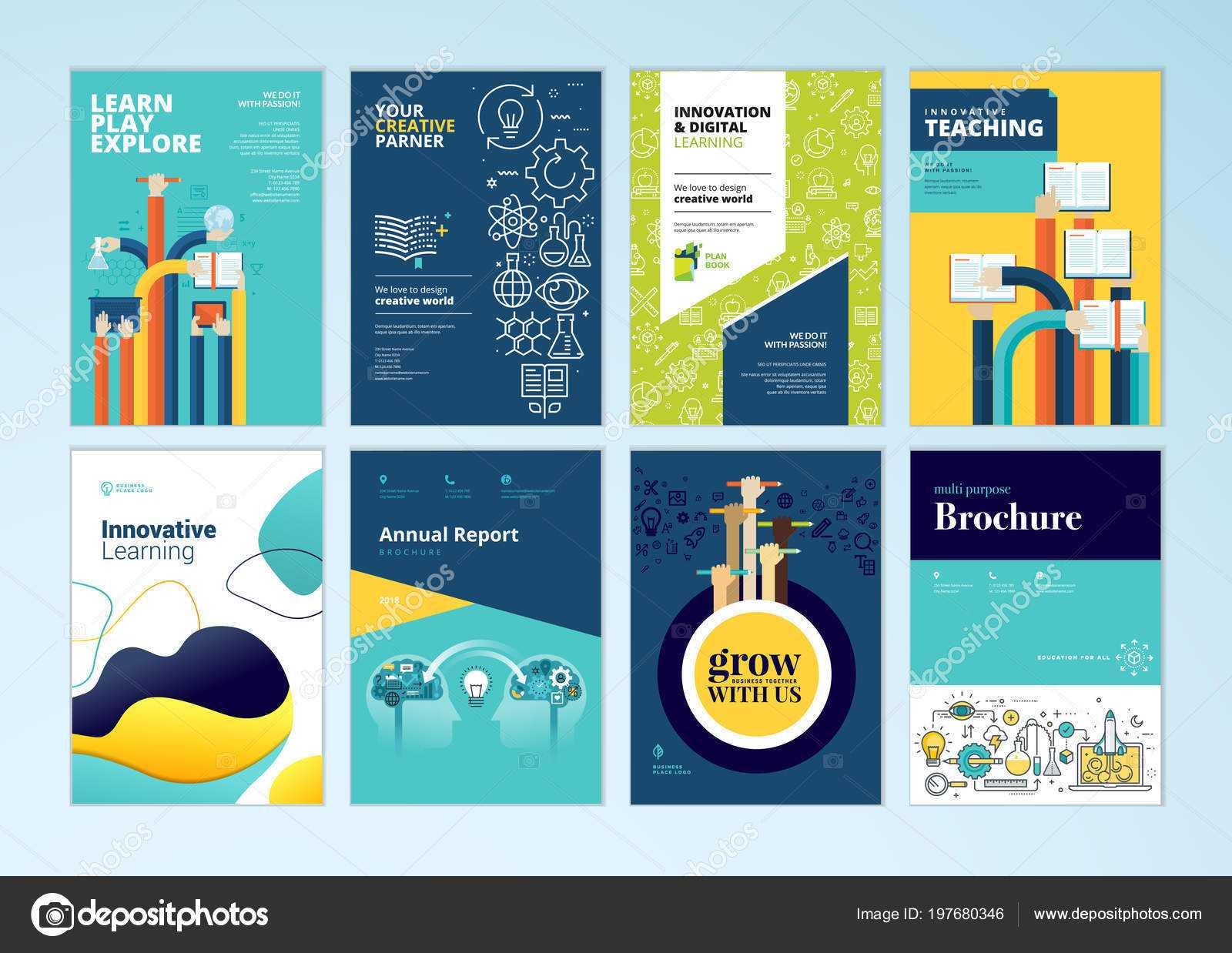 Set Brochure Design Templates Subject Education School Throughout School Brochure Design Templates
