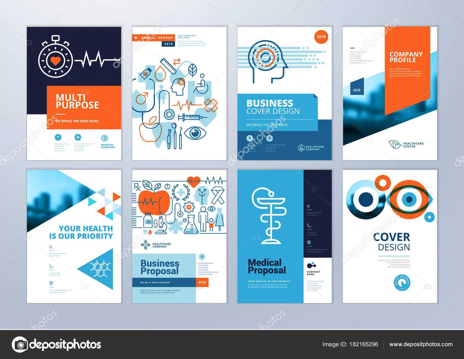 Set Medical Brochure Annual Report Flyer Design Templates Within Healthcare Brochure Templates Free Download
