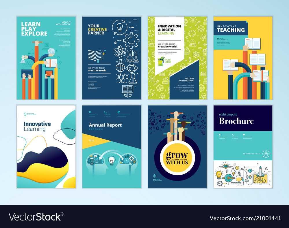Set Of Brochure Design Templates Of Education In Brochure Design Templates For Education