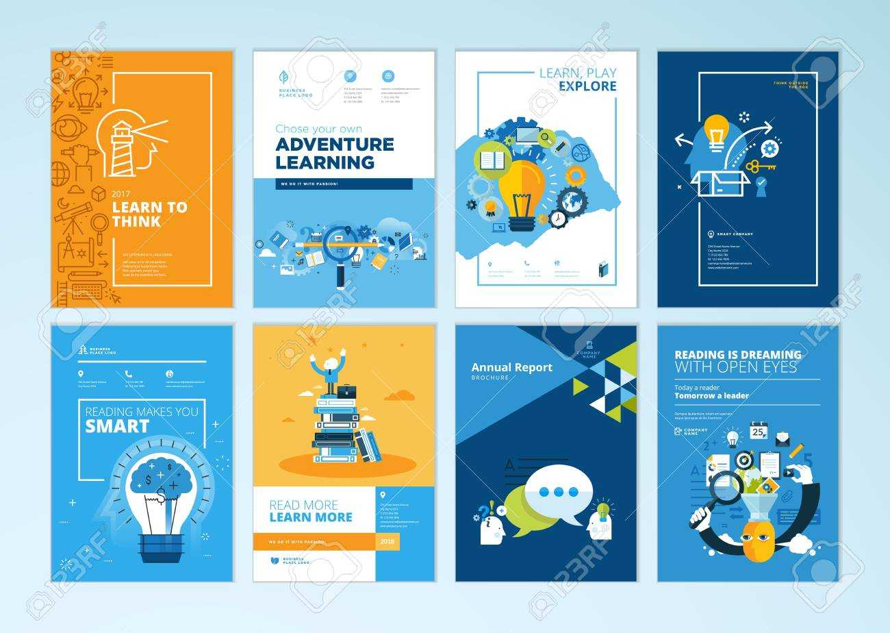 Set Of Brochure Design Templates On The Subject Of Education,.. With Brochure Design Templates For Education