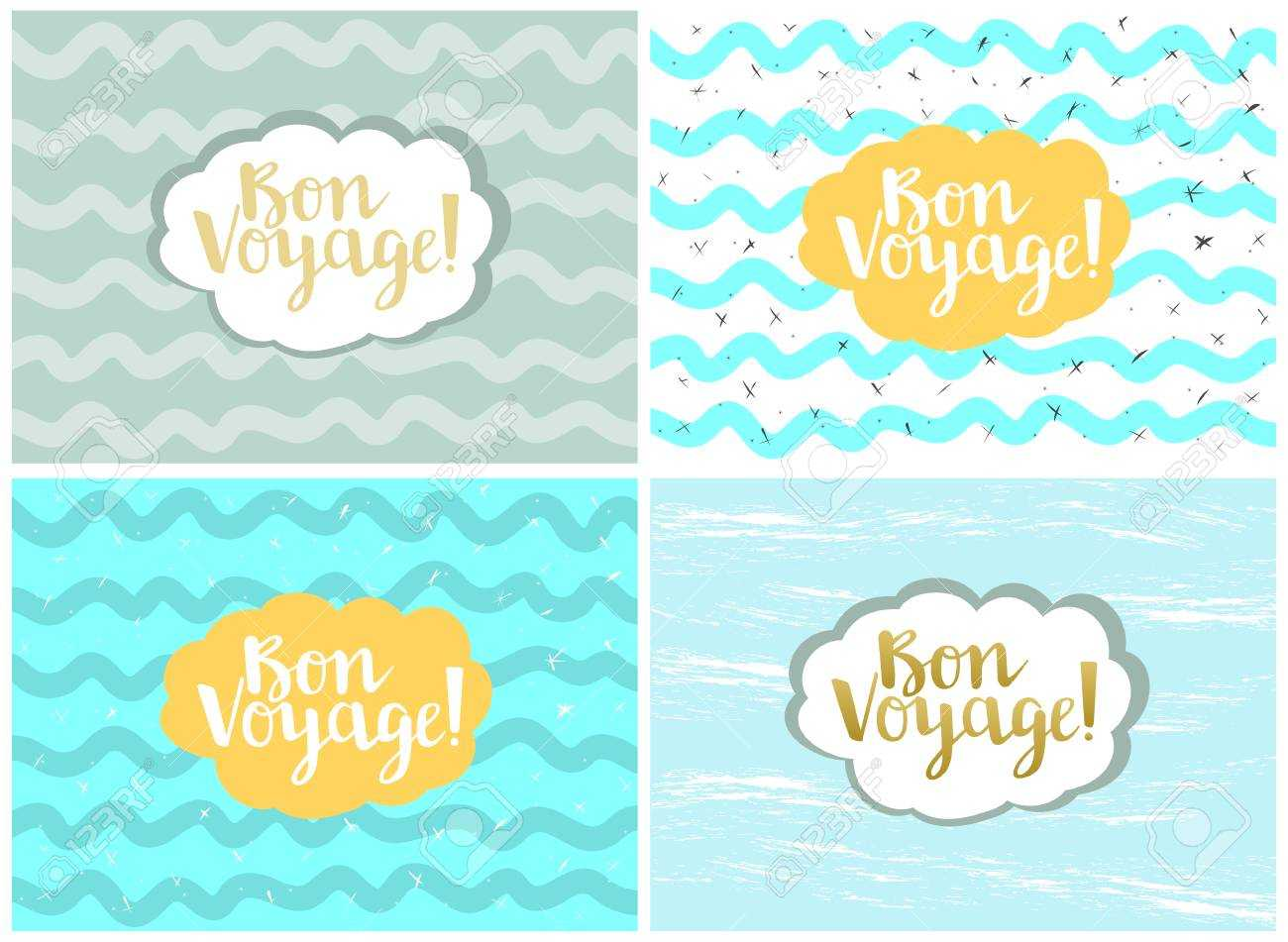 Set Of Four Cards, Vector Templates. Bon Voyage. With Regard To Bon Voyage Card Template