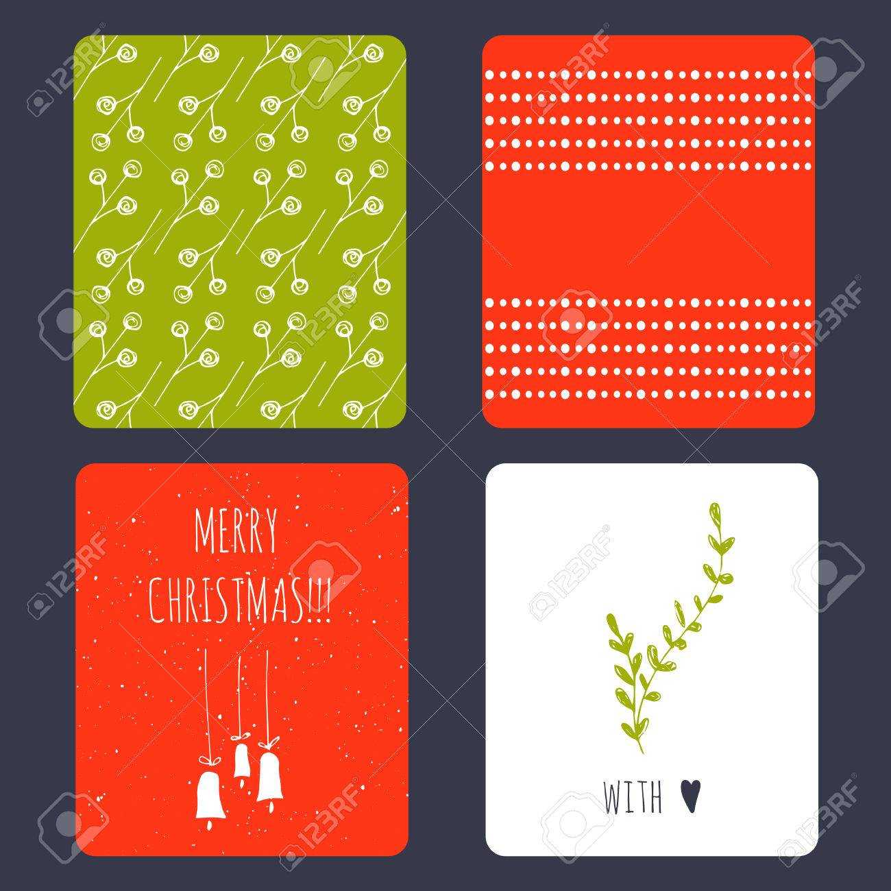 Set Of Winter Small Card Templates. Collection For Christmas.. Within Small Greeting Card Template