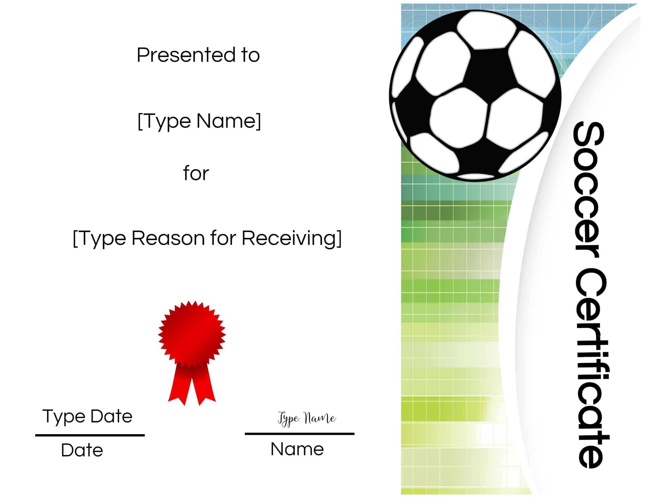 Soccer Certificate Printable - Colona.rsd7 Regarding Soccer Certificate Template Free