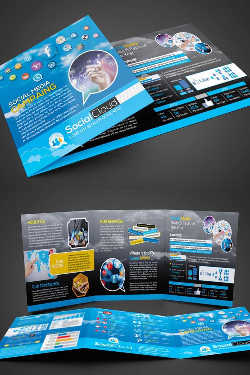 Social Media Tri Fold Brochure Corporate Identity Template Pertaining To Social Media Brochure Template