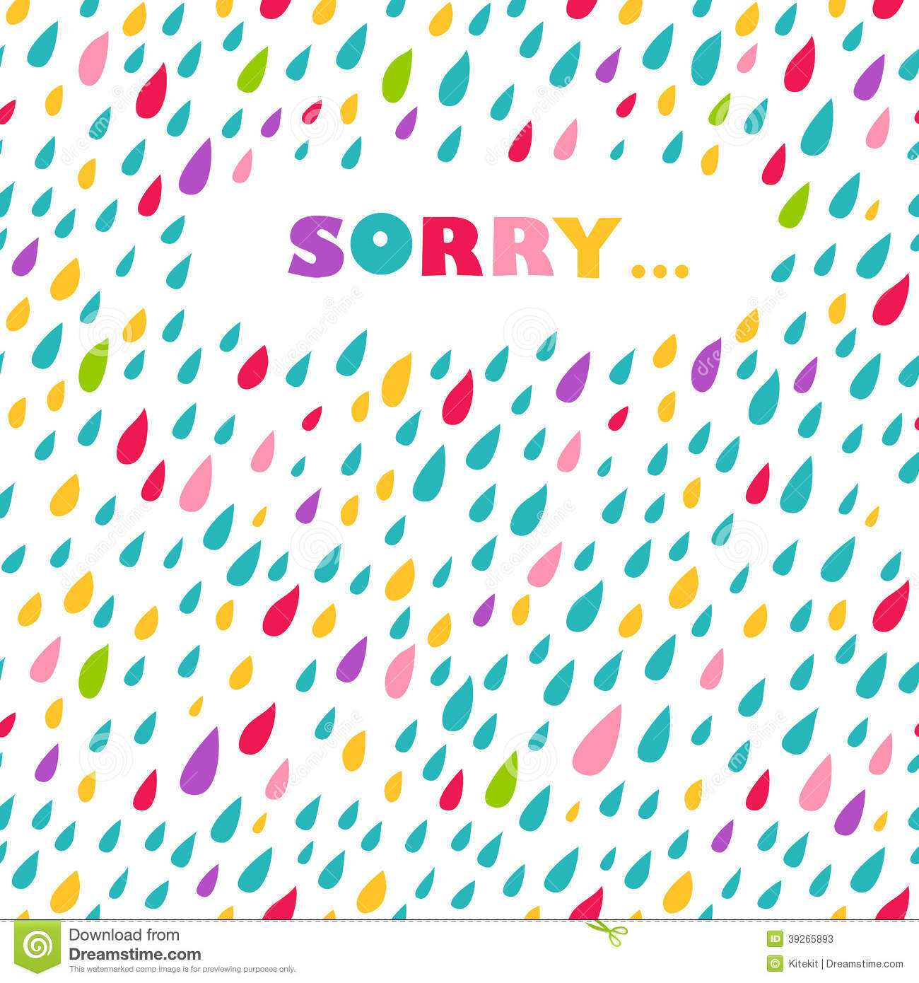 Sorry' Card. Drops Background. Stock Vector - Illustration Pertaining To Sorry Card Template