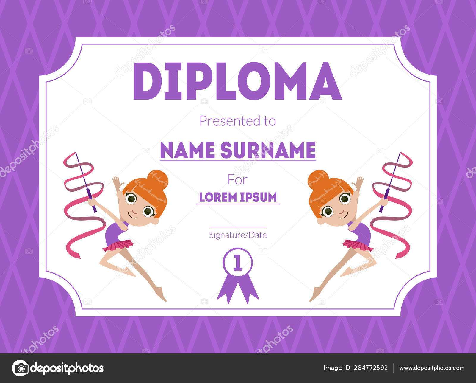 Sports Award Diploma Template, Kids Certificate With Gymnast Pertaining To Gymnastics Certificate Template
