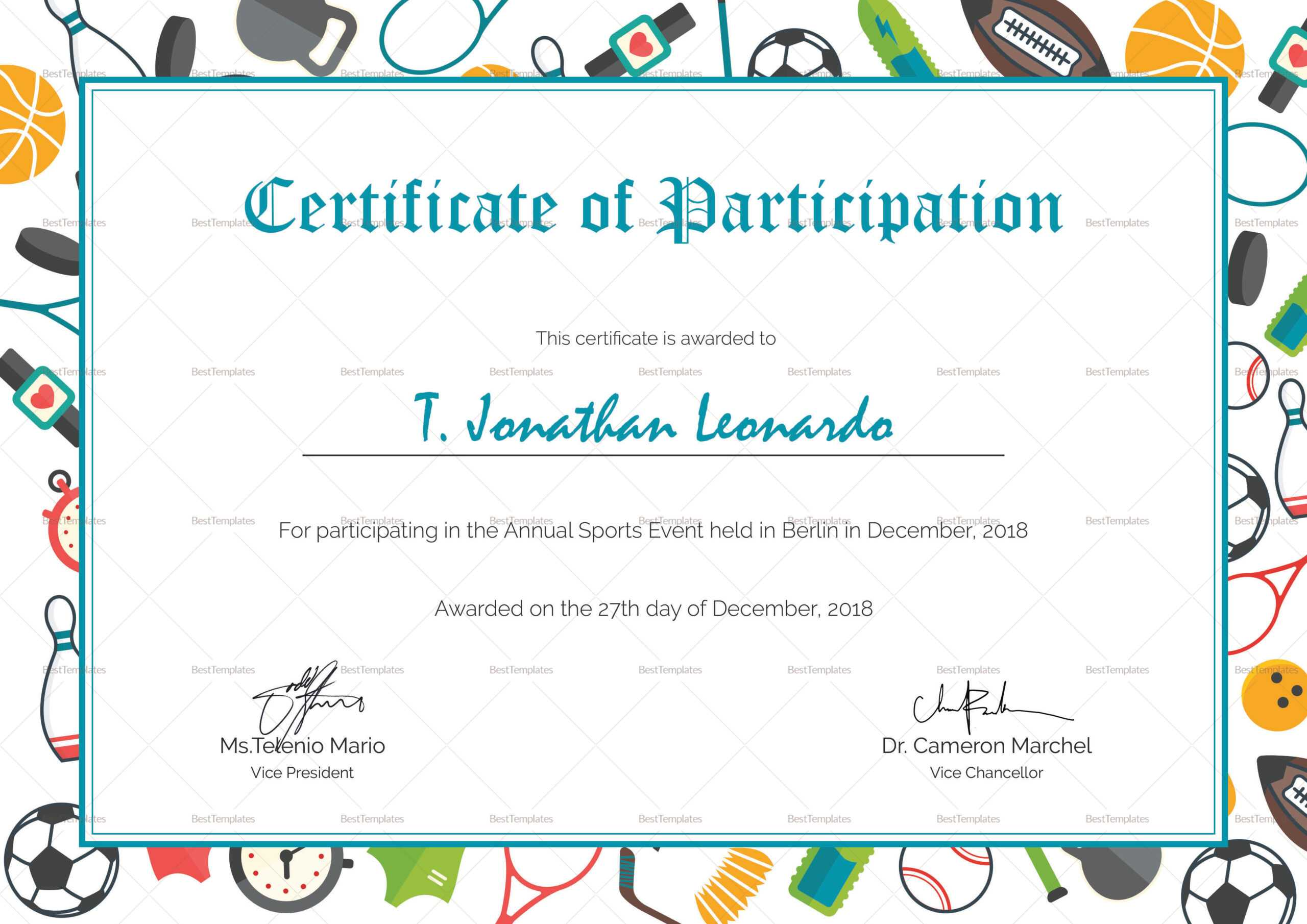 Sports Participation Certificate Template Pertaining To Athletic Certificate Template
