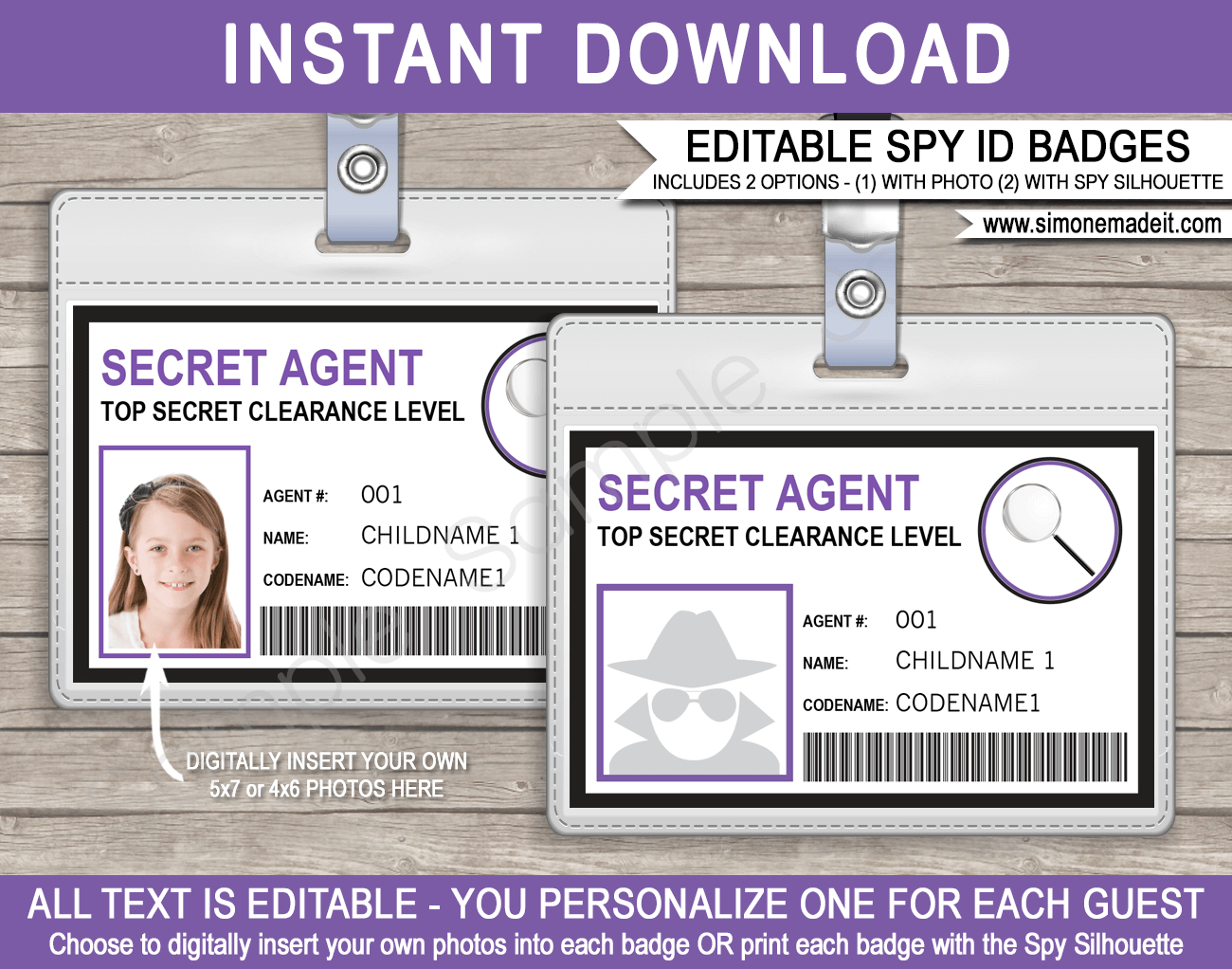 Spy Or Secret Agent Badge Template – Purple Inside Spy Id Card Template
