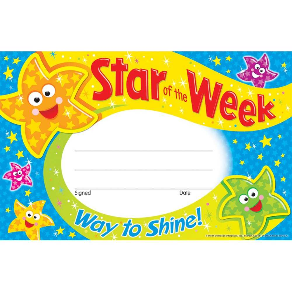 Star Of The Week Certificate Template ] - Of The Week Within Star Of The Week Certificate Template