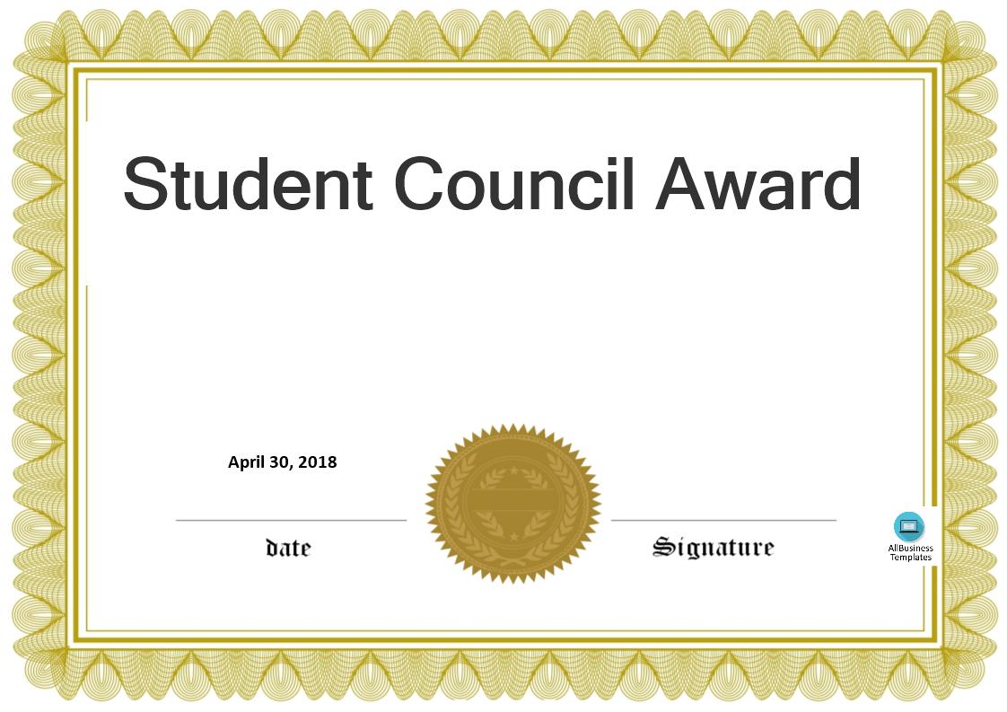 Student Council Award | Templates At Allbusinesstemplates In Free Student Certificate Templates