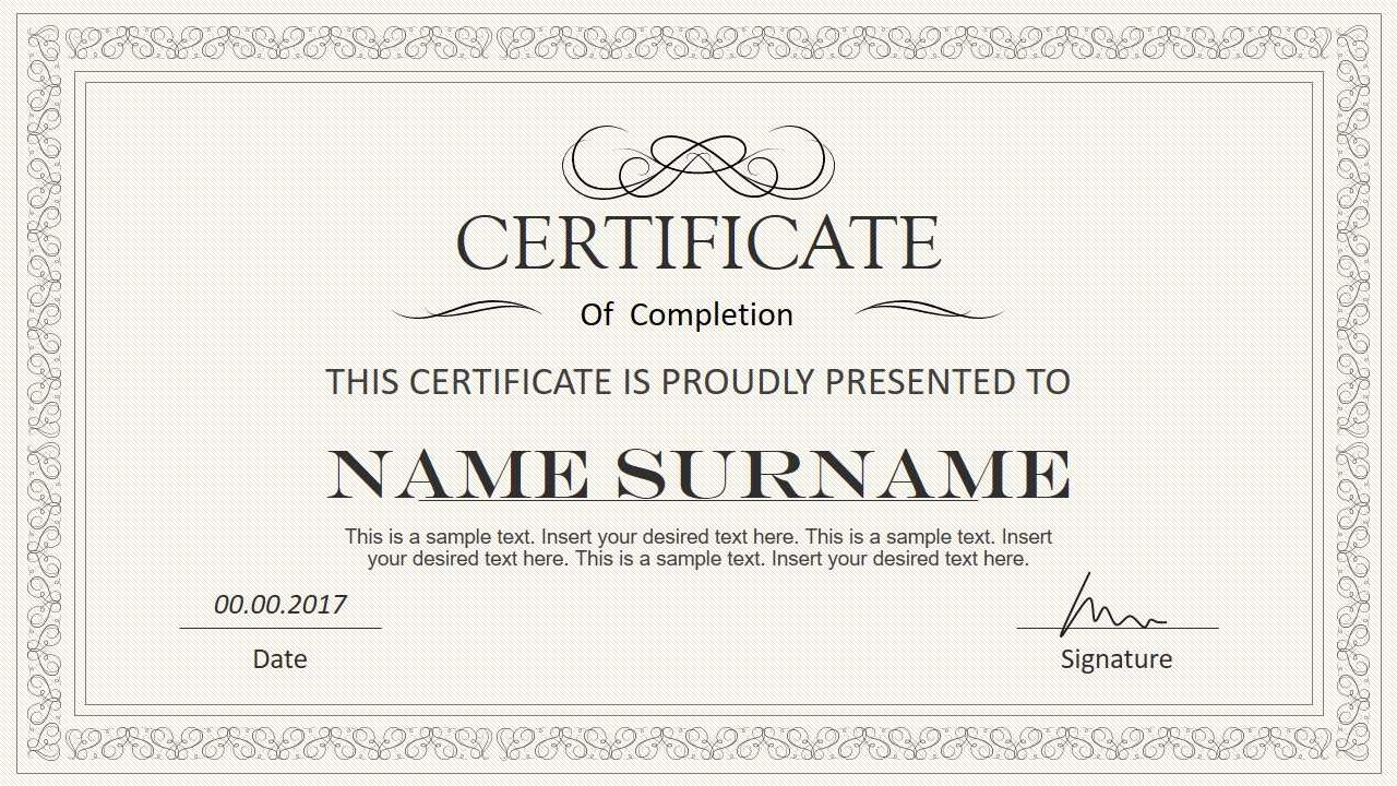 Stylish Certificate Powerpoint Templates With Regard To Award Certificate Template Powerpoint