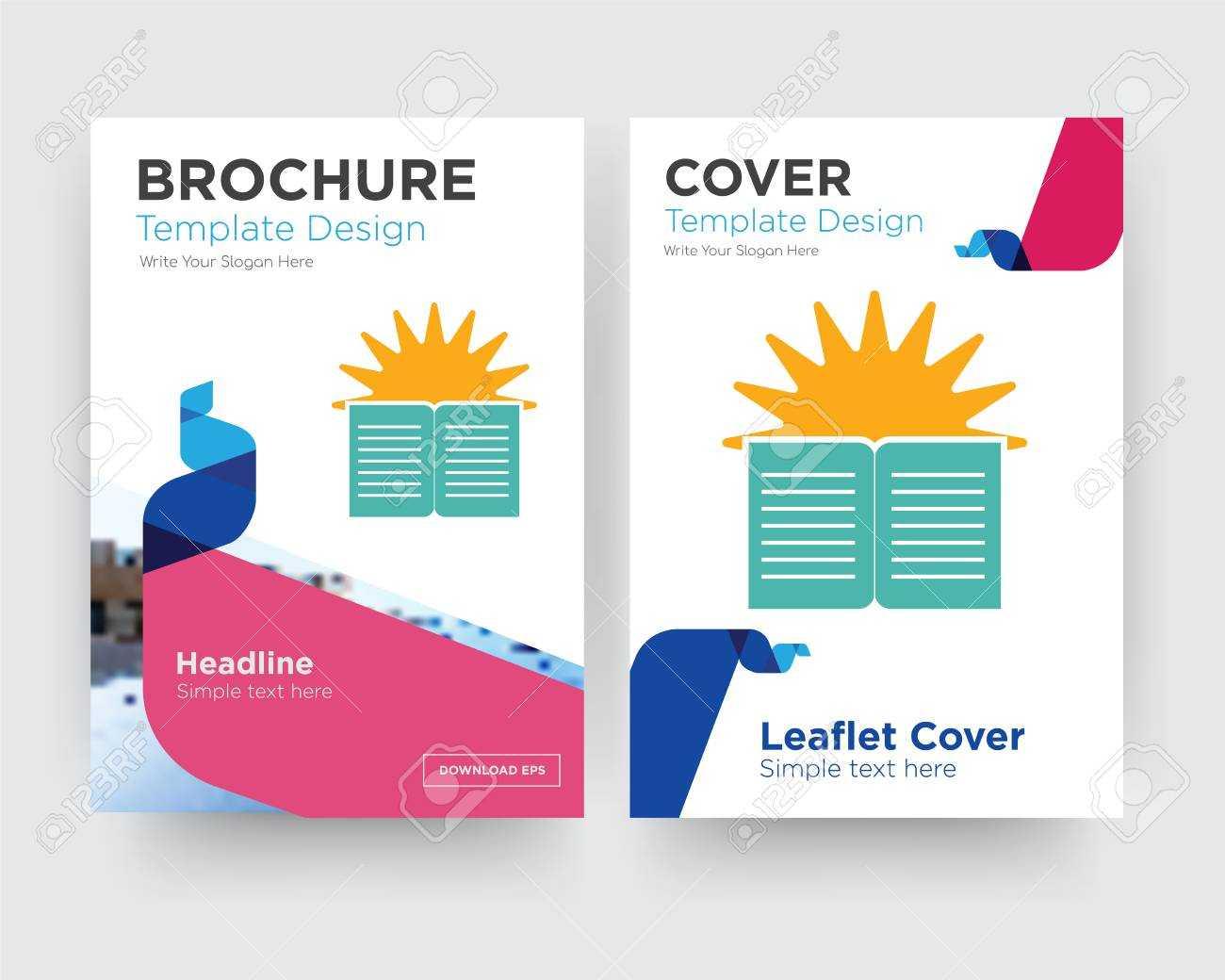 Sunday School Brochure Flyer Design Template With Abstract Photo.. Inside School Brochure Design Templates