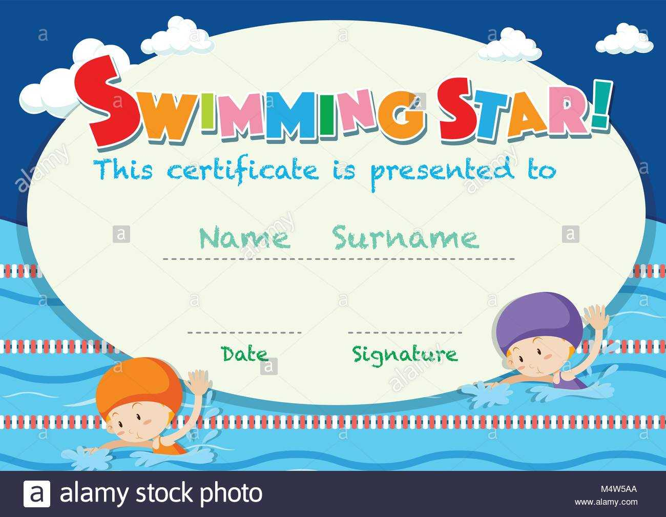 Swimming Certificate Stock Photos & Swimming Certificate Within Free Swimming Certificate Templates