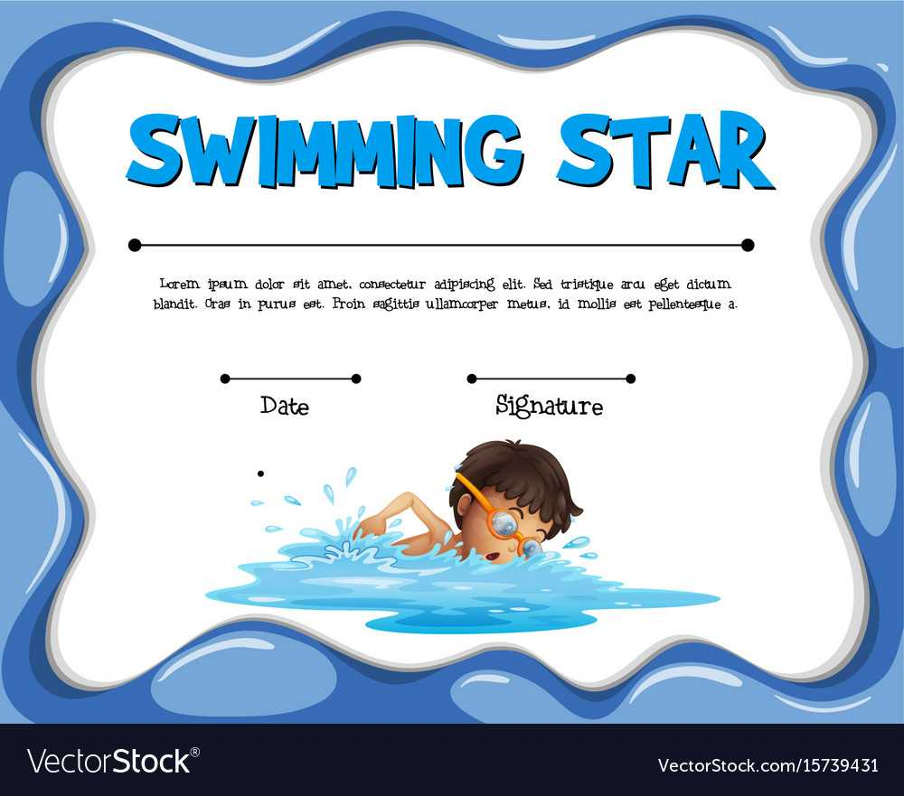 Swimming Star Certification Template With Swimmer In Swimming Certificate Templates Free