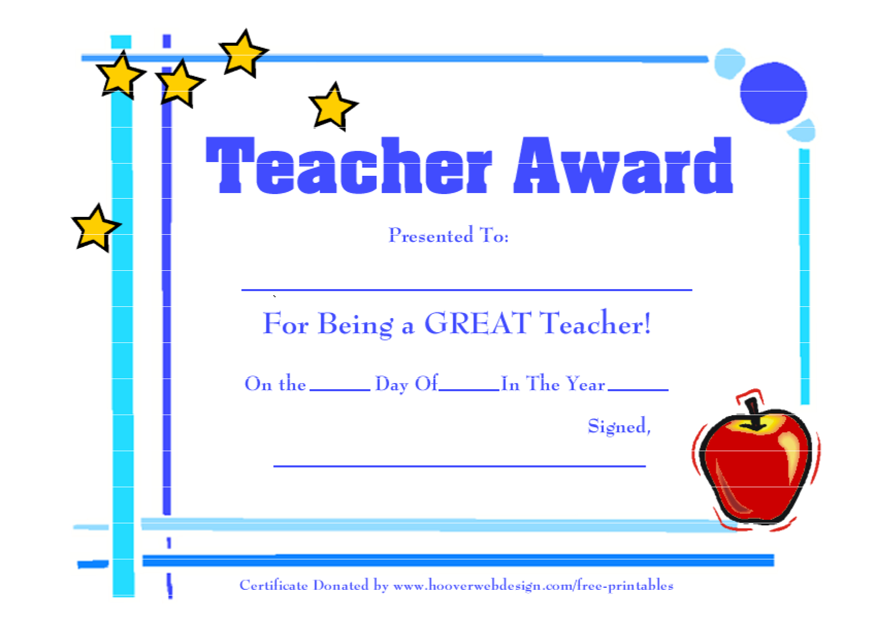 Teacher Awards 9 New Certificat Templates For Best Teacher Certificate Templates Free