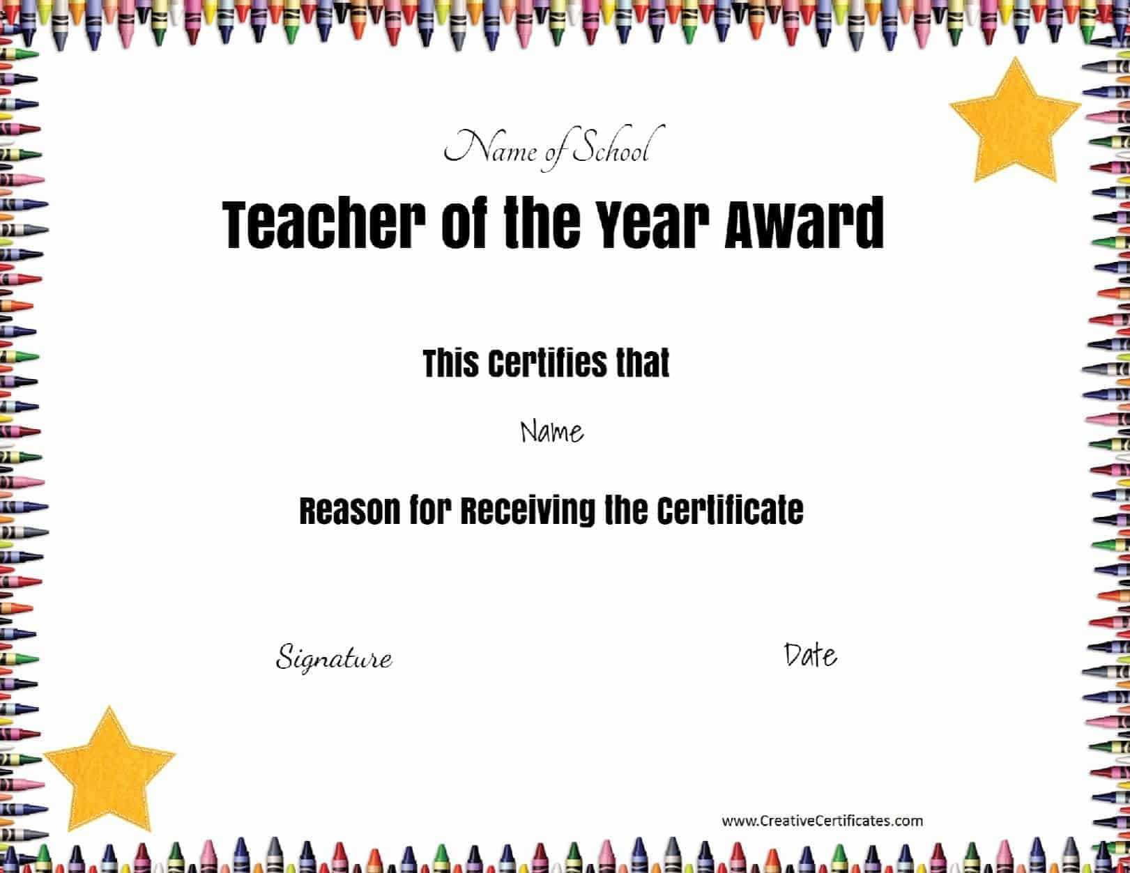 Teacher Of The Month Certificate Template - Tunu.redmini.co Inside Best Teacher Certificate Templates Free