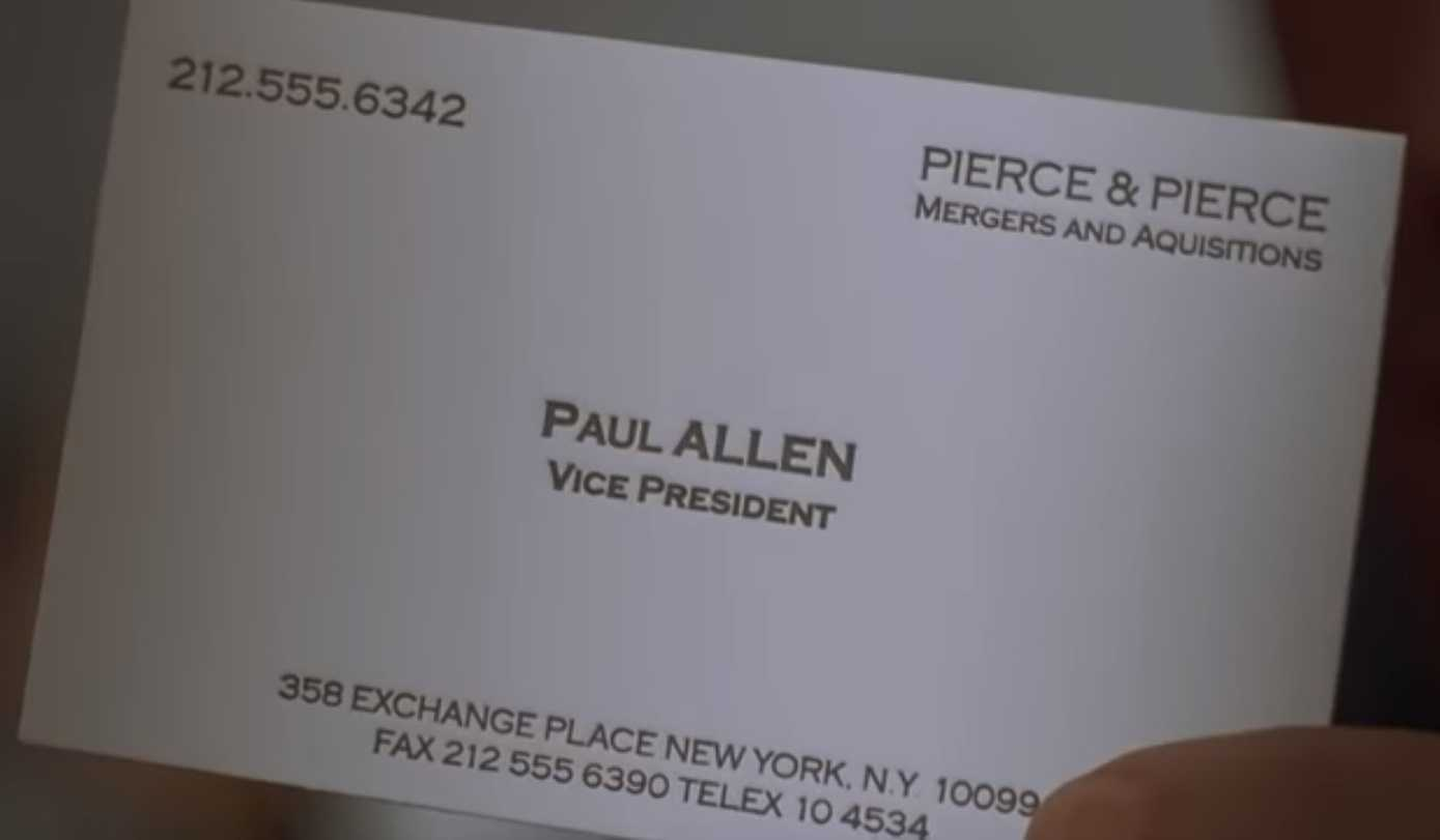 The Business Cards Of American Psycho | Hoban Cards Within Paul Allen Business Card Template