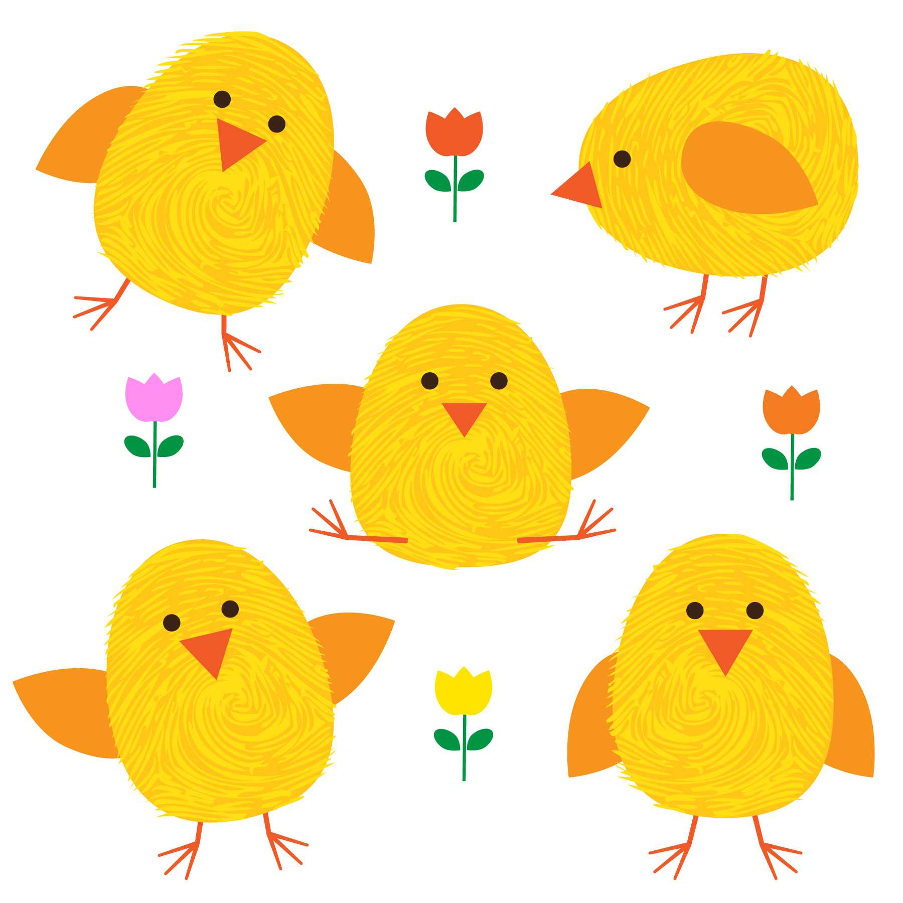 Thumbprint Easter Chicks And Flowers – Download Free Vectors Within Easter Chick Card Template