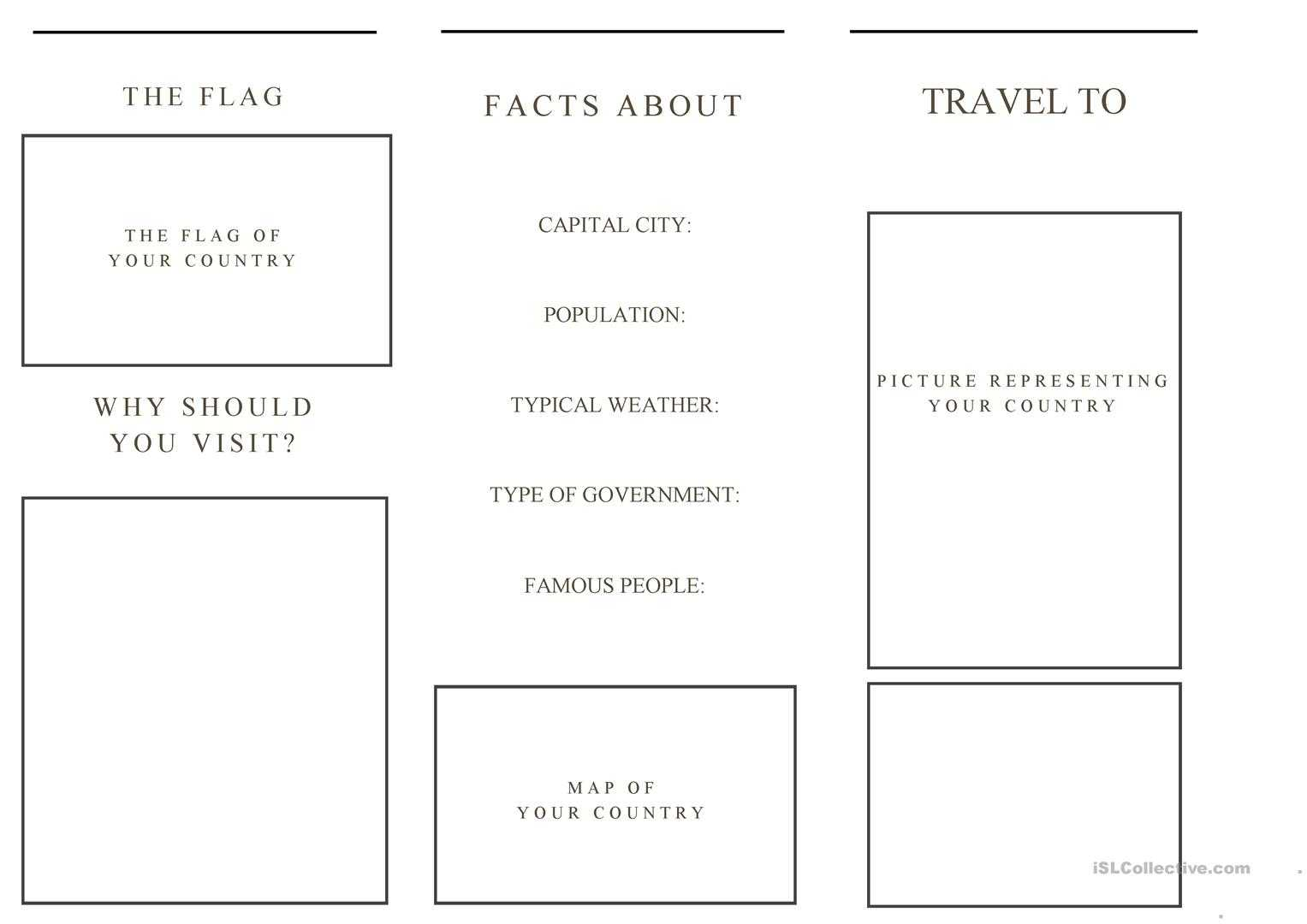 Travel Brochure Template And Example Brochure - English Esl Inside Travel Brochure Template For Students