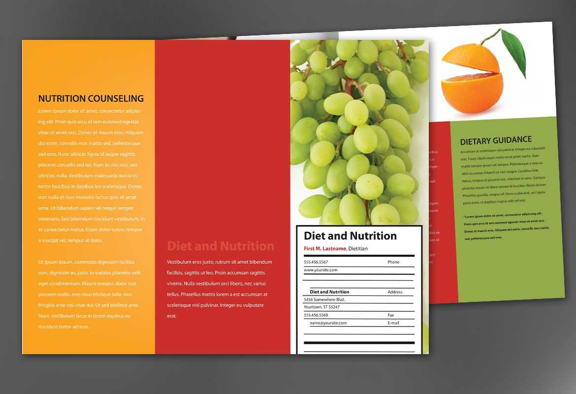 Tri Fold Brochure Template For Health And Nutrition. Order Intended For Nutrition Brochure Template