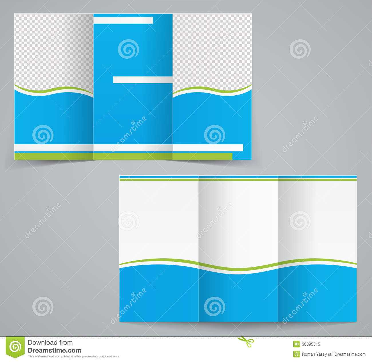 Tri Fold Business Brochure Template, Blue Design Stock In 6 Sided Brochure Template