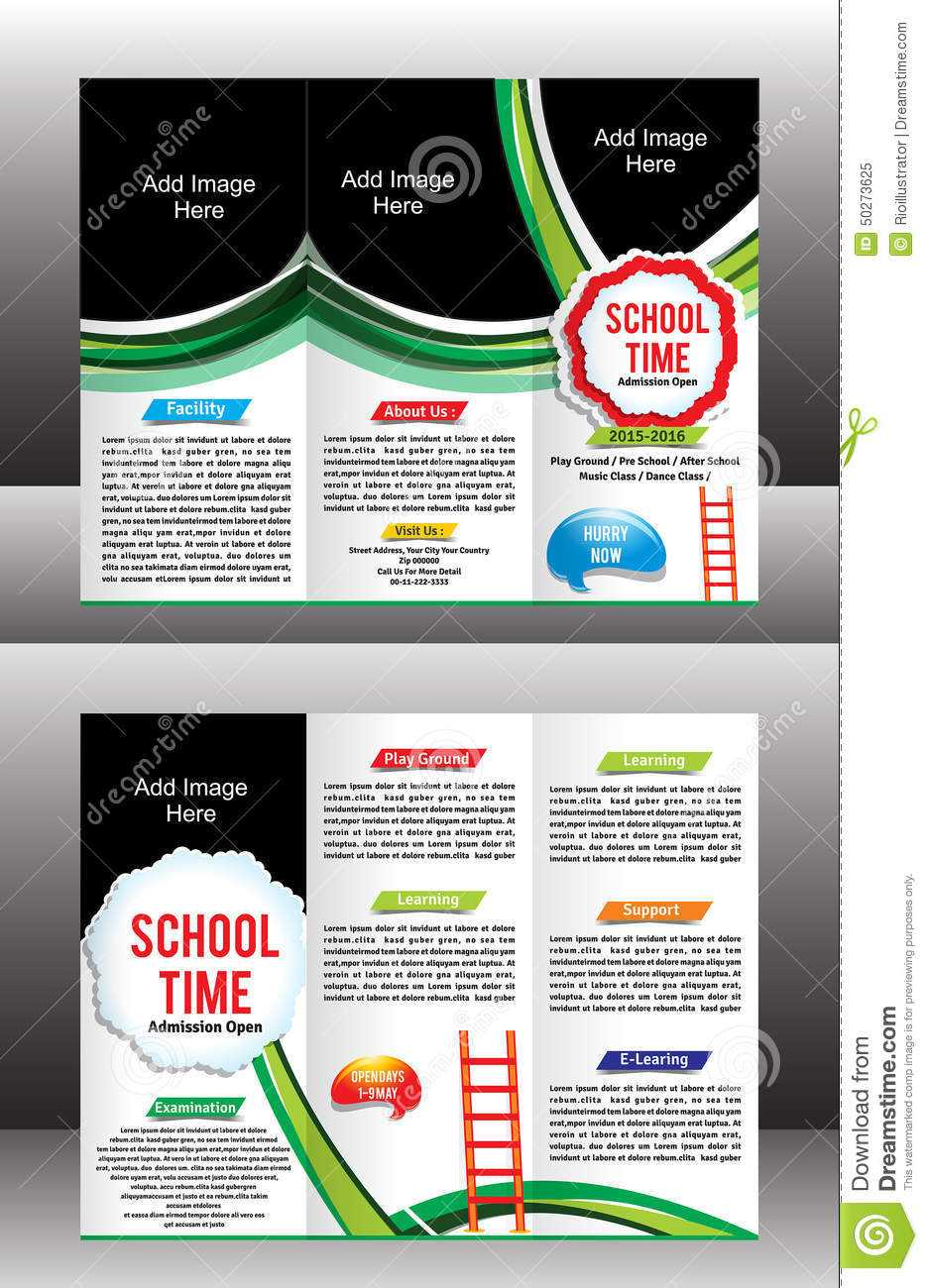 Tri Fold School Brochure Template Stock Vector Pertaining To Tri Fold School Brochure Template