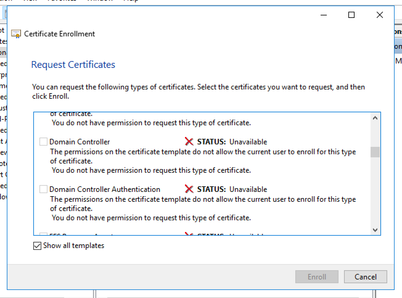 Unable To Request New Certificate From Nps Server Pertaining To Domain Controller Certificate Template