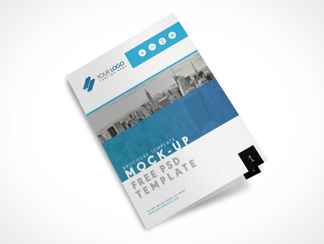 Us Letter Size Bi Fold Brochure Cover Psd Mockup - Psd Mockups For Letter Size Brochure Template