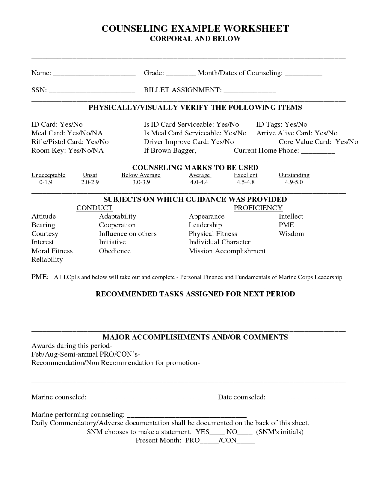 Usmc Counseling Worksheet | Printable Worksheets And With Usmc Meal Card Template