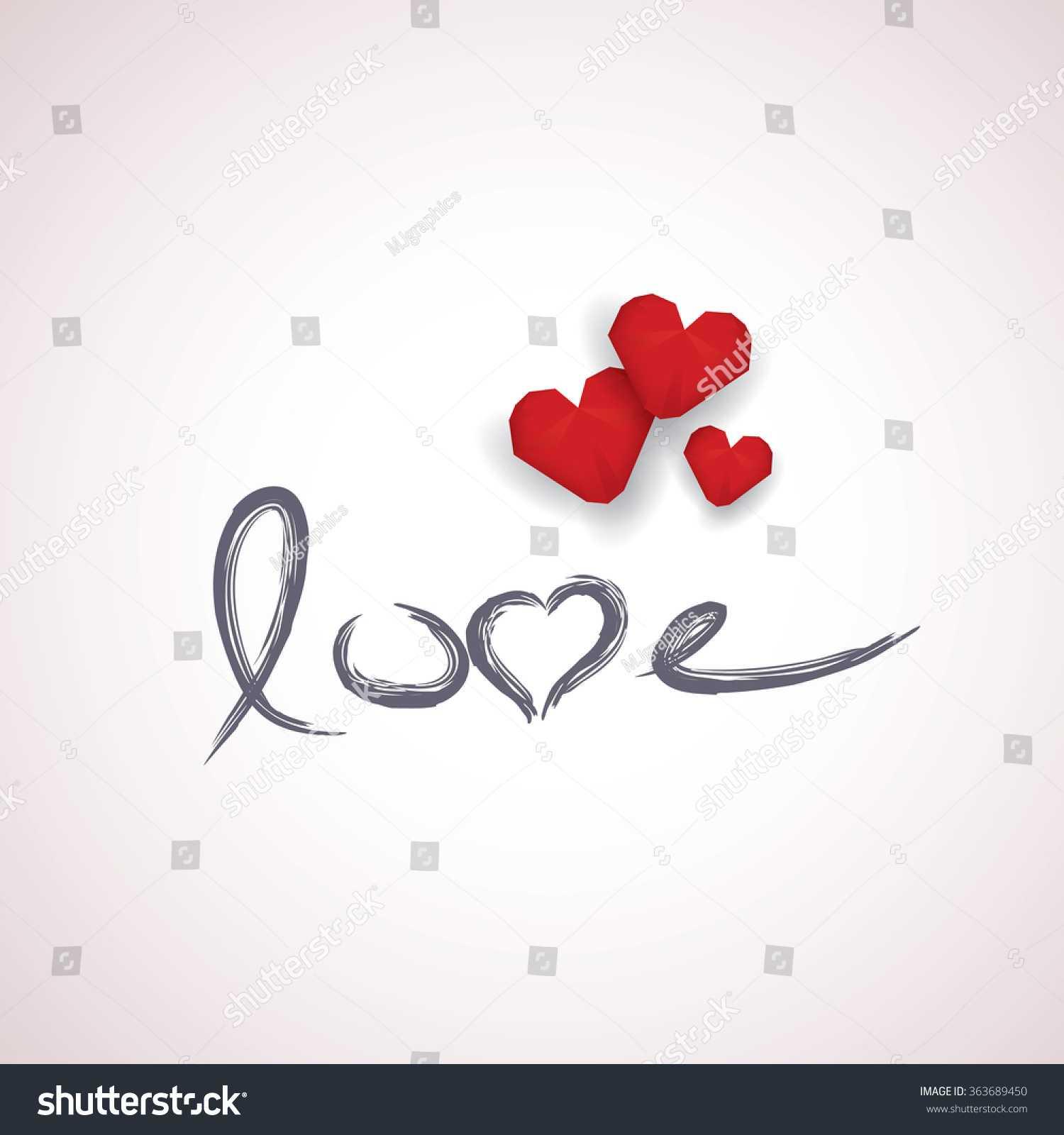 Valentine Card Template Handwritten Word Love Stock Vector Intended For Valentine Card Template Word