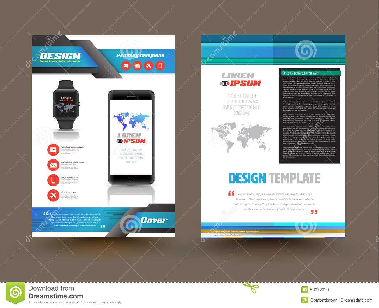Vector Brochure Template Design For Technology Product With Regard To Product Brochure Template Free