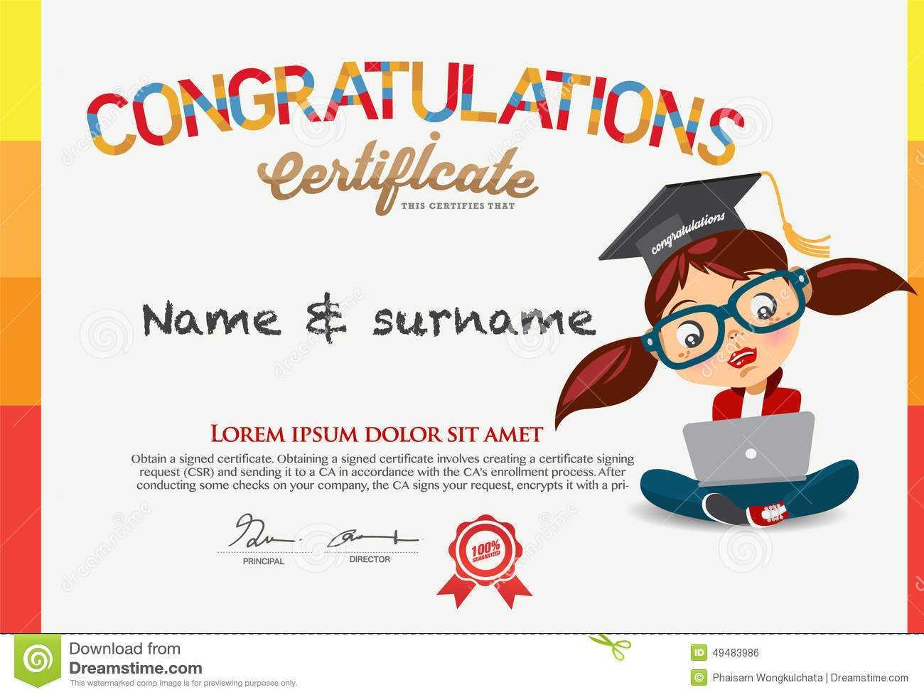 Vector Certificate For School Children Template. Stock In Children's Certificate Template